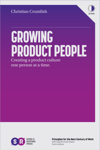An image of the cover of the book, Growing Product People, set in front of a set of fun and unique thick brushstrokes that serve as a frame for it.