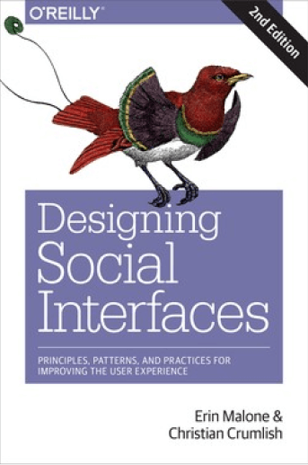 An image of the cover of the book, Designing Social Interfaces, set in front of a set of fun and unique thick dotted brushstrokes that serve as a frame for it.