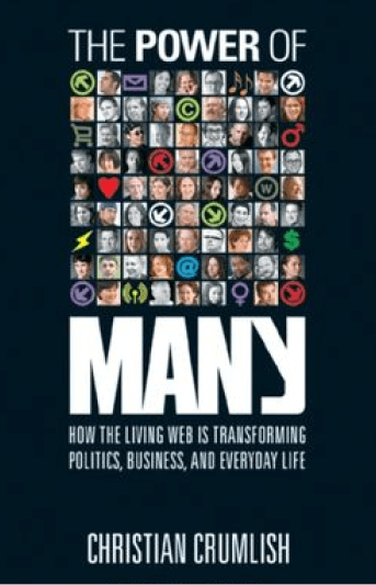 An image of the cover of the book, The Power of Many, set in front of a set of fun and unique thick line and round brushstrokes that serve as a frame for it.